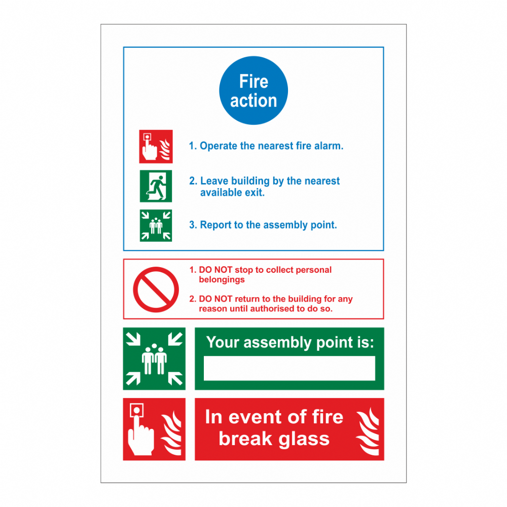 Fire Action, Assembly Point/ In Event Of Fire Sign